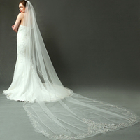 Single Layer Bridal Veil Beads Edge Cathedral Wedding Veil Luxury Long Veu De Noiva Longo Bridal Veils