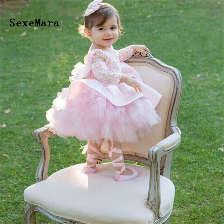 pink tulle tutu little girl 1 year birthday party gown open back long sleeves flower girl dresses baby girl christmas gown