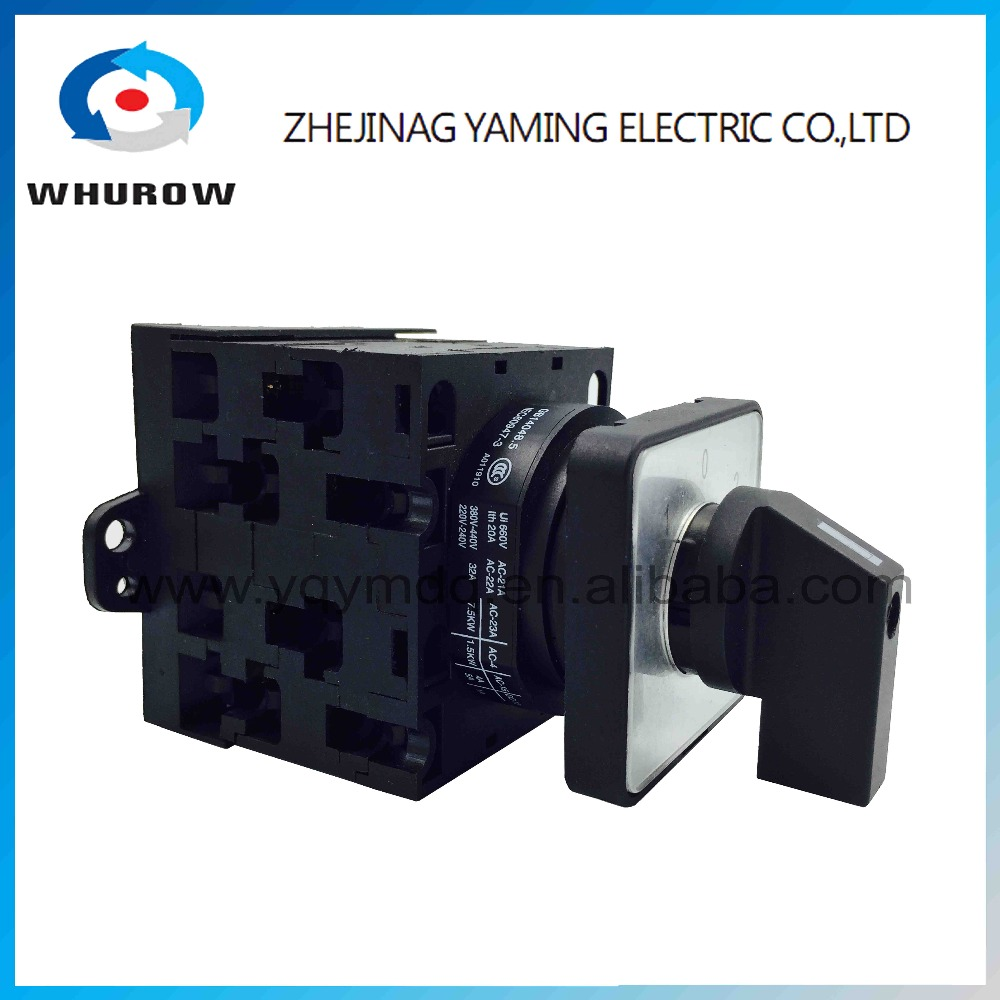 YMW42-32/3 Rotary switch 3 position 3 poles 32A 12 terminal screw black universal changeover cam switch ui660v ith32a 1 0 2 three position rotary cam universal changeover switch