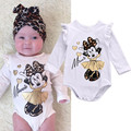 2016 Cute Girl Ruffle Minie Cartoon Style Bodysuits Baby Girl Winter Clothes NewBorn Body Baby Ropa Next Baby Bodysuit