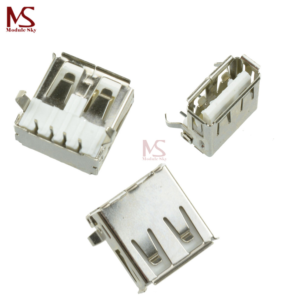 US $0 73 9% OFF|10Pcs G52 USB 2 0 4Pin A Type Female Socket Connector 2feet  90degree for Data Transmission Charging Sell At A Loss USA Belarus-in