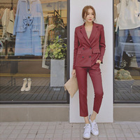 New Work Pant Suits 2 Piece Sets Double Breasted Striped Blazer Jacket & Zipper Pant Office Lady Suit Women Outfits Spring