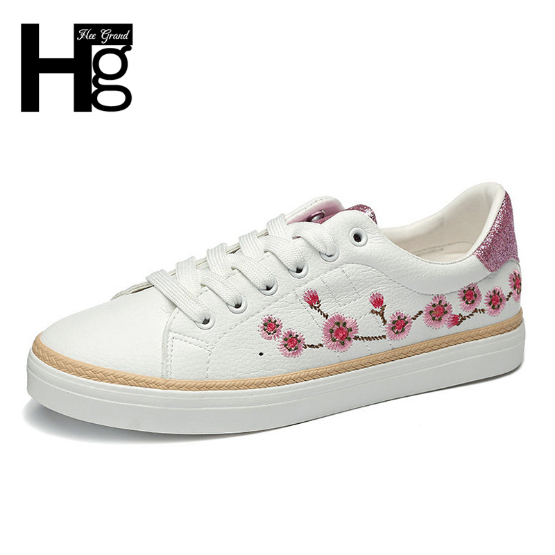 HEE GRAND Embroider Lace Up Creepers Women Casual Flat Shoes 2018 Spring White Black Solid Color Shoes Woman Size 35-40 XWD6329 xiaying smile woman sneakers shoes women flats spring summer thick sole embroider rose lace up black white student women shoes