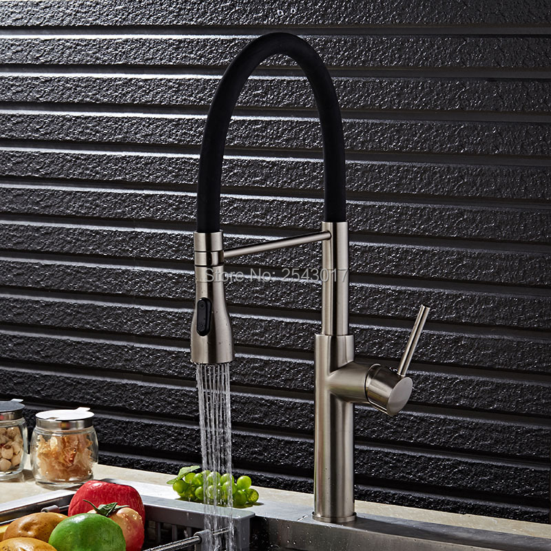 GIZERO Luxury Kitchen Pull Out Faucet Brushed Nickel Finished Flexible Single Hole Deck Mounted Mixer Taps ZR688GIZERO Luxury Kitchen Pull Out Faucet Brushed Nickel Finished Flexible Single Hole Deck Mounted Mixer Taps ZR688