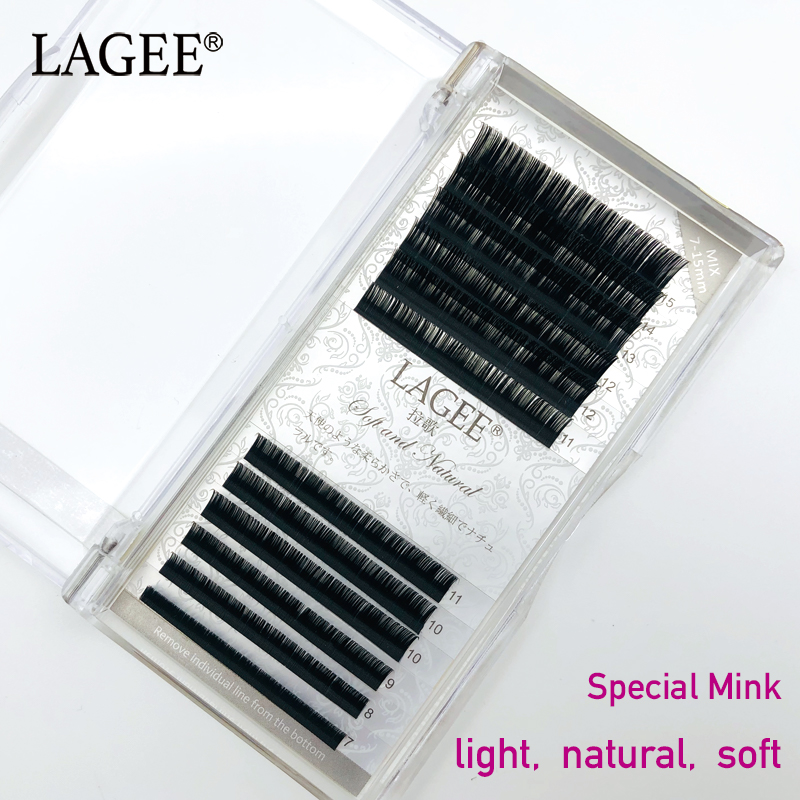 LAGEE 7 15mm Mixed Greater Length False Fake Magnetic Natural Soft Eyelashes for Extension 3d Mink Lashes maquillaje cilios in False Eyelashes from Beauty Health
