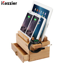 iCozzier Mini Bamboo Stand With Drawer Multi-device Charging Station Tablet Phone Dock for iPad, Smartphones, Tablets