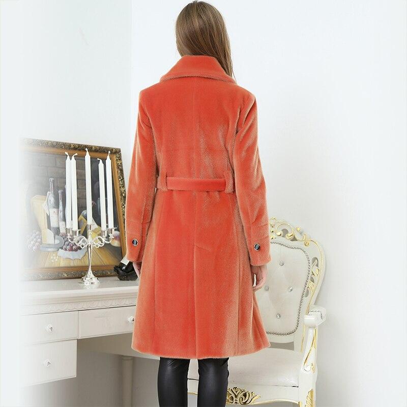 Pour Tranchée Slim Boutonnage Manteau Nerazzurri Automne Femmes Double Mode Britannique Orange Fourrure Style Casual Faux Longue 2018 De t4qx7x1w