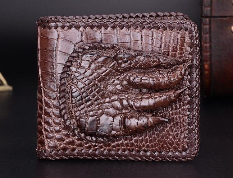100% натуральной кожи аллигатора кожаный бумажник мужчины крокодиловой кожи Кошельки и портмоне Роскошные деньги клип крокодил палец ноги