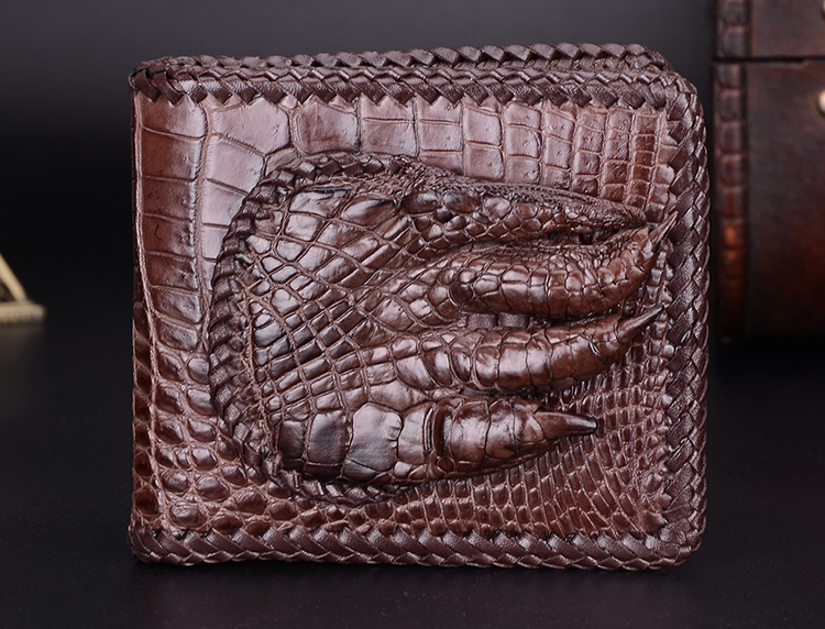 100% genuine alligator skin leather men wallet crocodile leather skin wallets and purse luxury money clip crocodile foot finger
