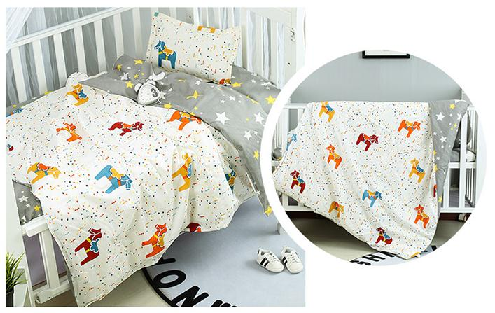 Good Quality Pony Crown Crib Bed Linen Kit For Boy Girl Cotton Beautiful Cot Baby Bedding Set ,Duvet/Sheet/Pillow, With Filling