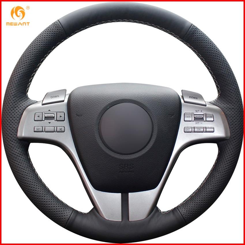 2010 Mazda Mazda6 Interior: MEWANT Black Genuine Leather Car Steering Wheel Cover For