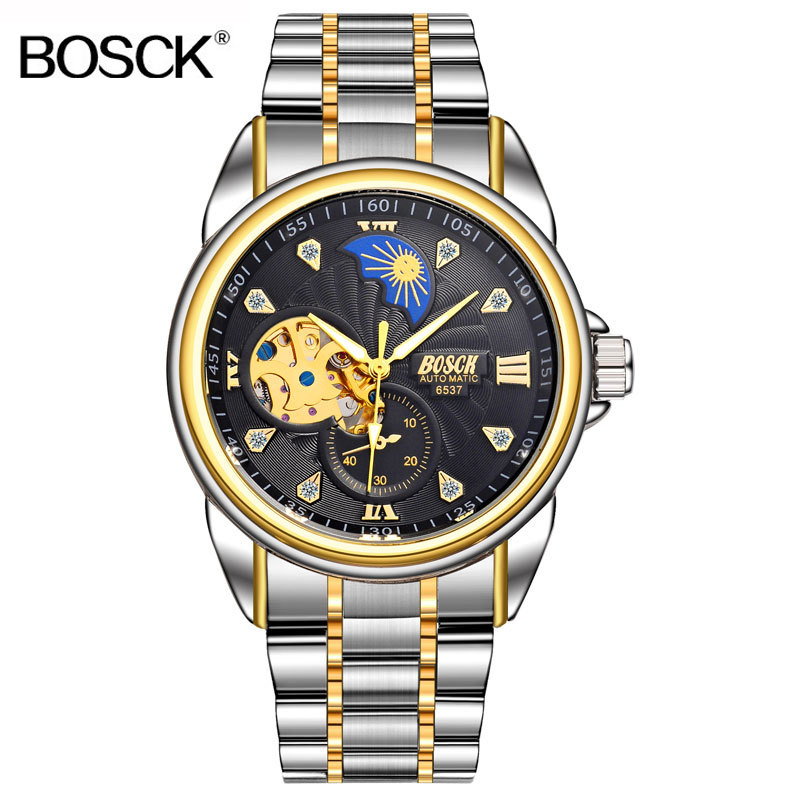 BOSCK Top Brand Luxury Men Watch Automatic Self Wind Business Watch Gold Mechanical Wristwatch Skeleton Male Clock Waterproof