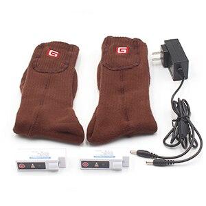 Носки с электрическим подогревом теплые носки с перезаряжаемой батареей 3,7 вольт эластичные теплые носки для здоровья для помещений и активного отдыха - Цвет: Brown