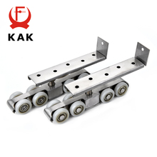 KAK Zinc Alloy Sliding Door Rollers 80KG Bedroom Wood Hanging Wheels Meeting Room Wardrobe Roller For Furniture