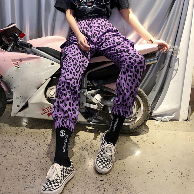 Purple leopard print for streetwear pants 4