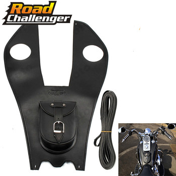 For Harley Softail Fatboy Heritage Deluxe Leather Tank Cover Panel Pad Chap Bib Motorcycle Accessories Tank Bag