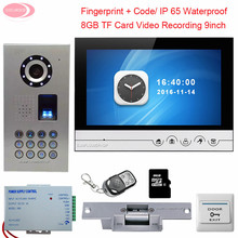 "9"" Video Intercom With Electromechanical Lock Video Door Entry System + 8GD TF Card IP65 Waterproof Fingerprint/Code Unlock Kit"