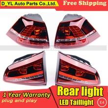 D_YL автомобильный Стайлинг для VW Golf 7 задний светильник s 2013- Golf7 MK7 светодиодный задний фонарь DRL+ тормоз+ Парк+ сигнальный светодиодный светильник