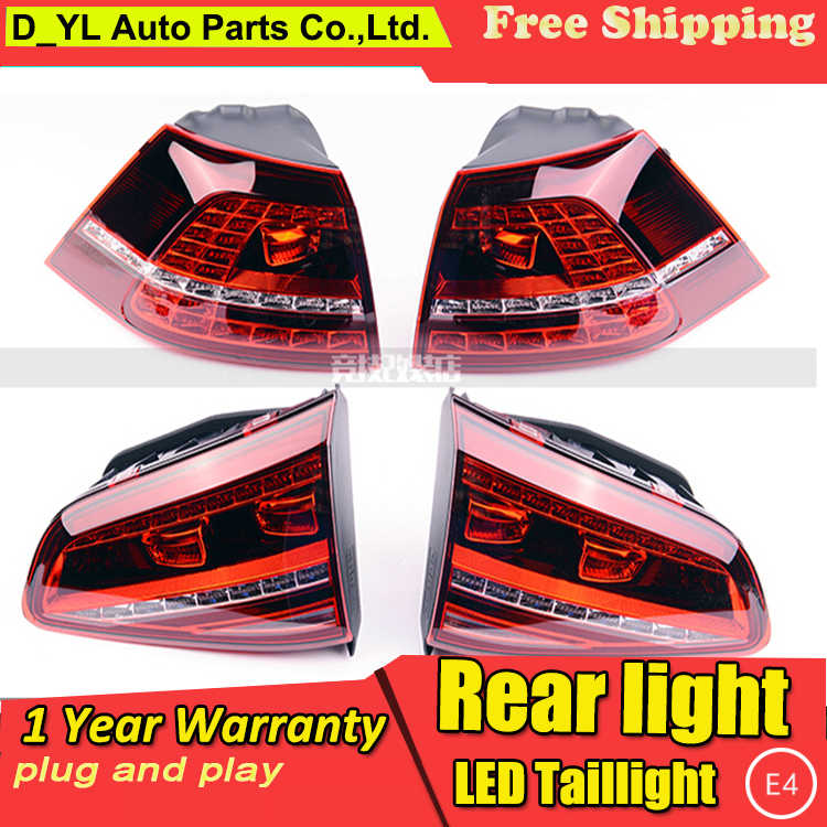 D_YL Car Styling for VW Golf 7 Taillights 2013-2014 Golf7 MK7 LED Tail Lamp Rear Lamp DRL+Brake+Park+Signal led light