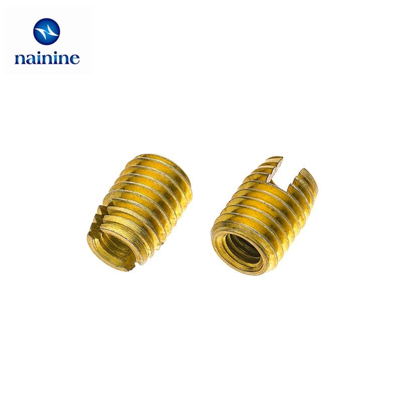 10Pcs M2 M2.5 M3 M4 M5 M6 M8 Galvanized Self Tapping Insert Screw Bushing 302 Slotted Type Wire Thread Insert Nut Repair HW068