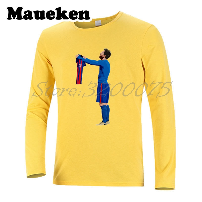 363bca909d4 Aliexpress.com : Buy Men Autumn Winter Lionel Messi #10 worship 500 Goals T  Shirt Men T shirts for messi fans gift Long Sleeve Tee W1101106 from  Reliable ...
