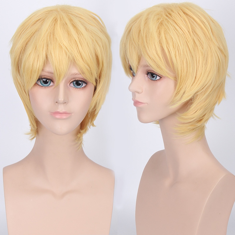 Coshome Naruto One Piece Fairy Tail Bleach Yato Cosplay Short Wig For Men Women Black Brown Yellow Red Blue Wigs (14)
