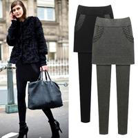 plus Size 6xl Hip Skirt + Pencil Pants Fake two piece Trousers Winter Plus Velvet Thicked Women Winter warm Leggings