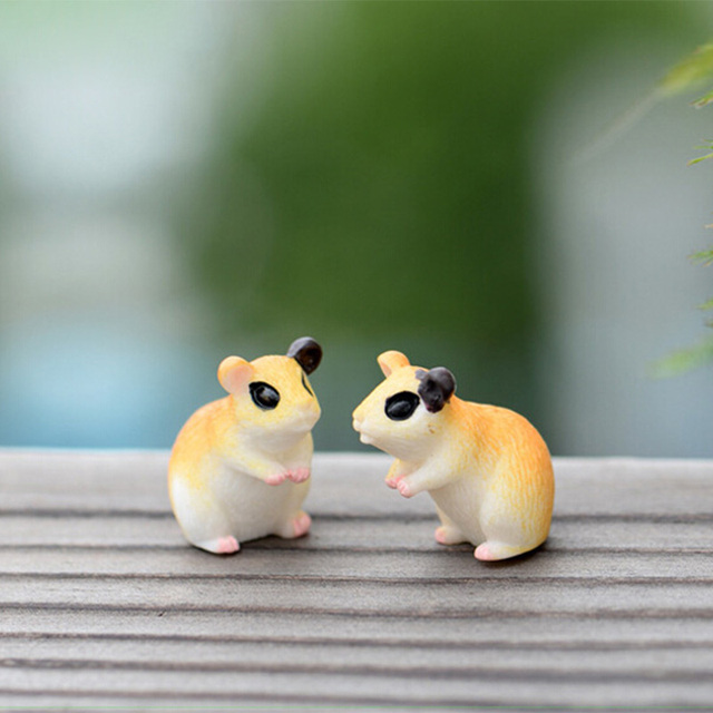 2pc Hamster Figurine Miniature Decoration for mini fairy garden animal statue Similation resin craft Home Car Decoration 4