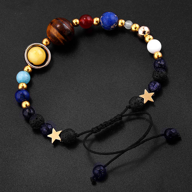 BOEYCJR Universe Planets Beads Bangles Bracelets Fashion Jewelry Natural Solar System Energy Bracelet For Women or