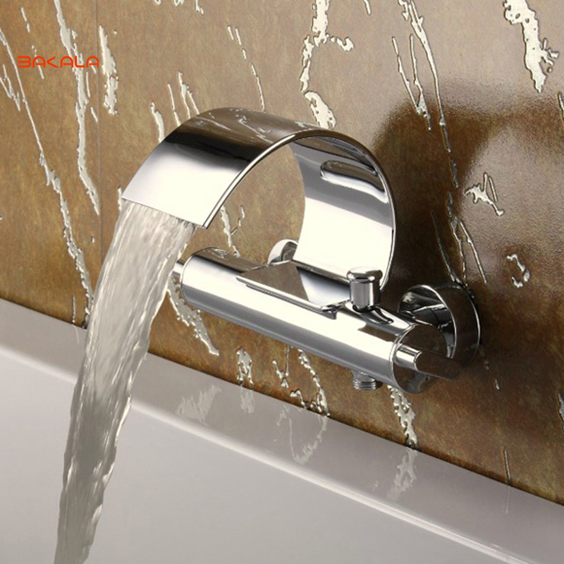 Freeshipping BAKALA Luxury Brass Chromed waterfall Tap wall mounted faucet for bathroom faucet tap bathroom waterfall
