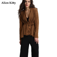 Alien Kitty Hollow Out Suede Coat Female 2017 Autumn High Street Full Sleeves Lace Up Khaki