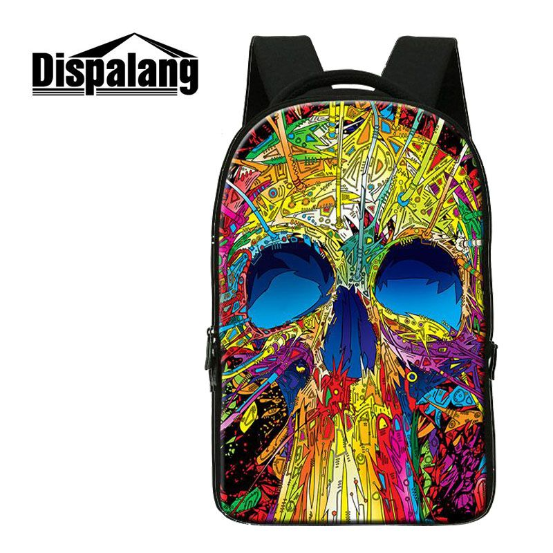 Dispalang Casual Laptop Backpack School Bags For Teenager Boys Girls Punk Hip-Hop Skull Men Backpacks Large Capacity Rucksack new 3d skull backpack shoulder bags for men printing backpack men punk rock school backpack for men casual school bags for boys