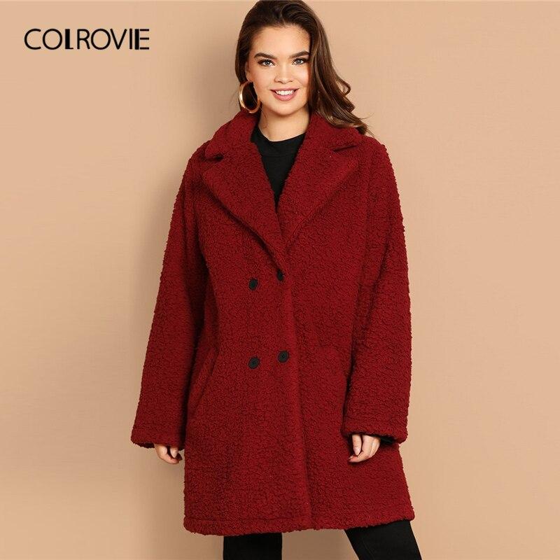 COLROVIE плюс размеры бордовый двубортный Рождество Тедди пальто для женщин 2019 Весенняя мода повседневное карман удлиненный верхняя одежда