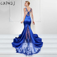 2018 High end Evening wear Dress Women New Sexy V neck Sleeveless Large Fashion Slim Lace Etitching Fish Tail Long Dresses Blue