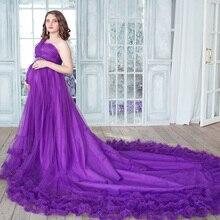 Increíble Púrpura de Un hombro a Largo Vestido de Noche de Maternidad Tren Rebordeado Tulle de la Correa Las Mujeres Embarazadas Vestidos de Baile Vestido de Noche