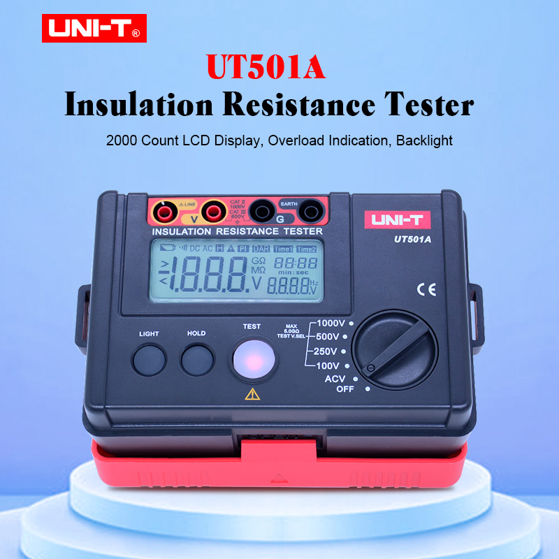UNI-T Résistance D'isolement Testeur Compteur UT501A Megger Terre Résistance de Terre Testeur de Tension Mégohmmètre Voltmètre