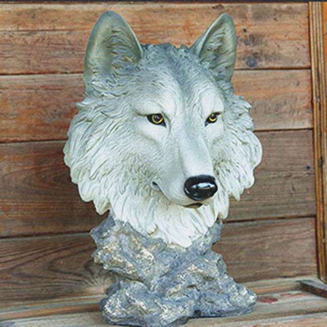 The Wall Hanging Garden Resin Crafts Simulation Animal Home Decoration Wolf  Statue Home Decoration Accessories Sculpture