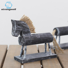 Strongwell Wood Horse Crafts Modern Europe Style Statue Retro Home Decoration Accessories Rocking Ornament Gifts
