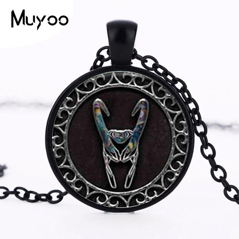 1pc Loki helmet crystal pendant necklace