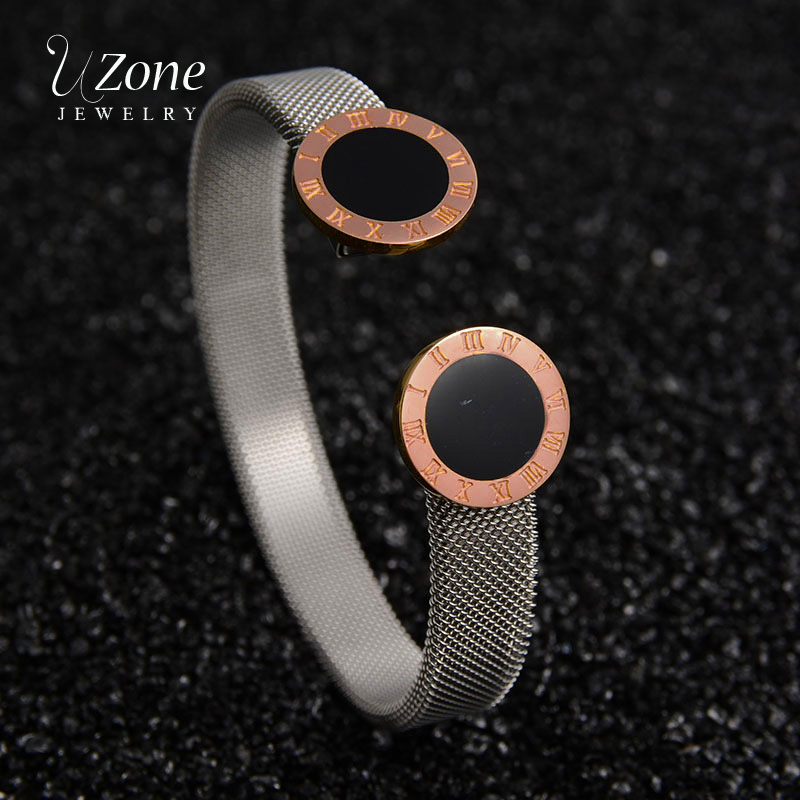 UZone Brand Rose Gold Round Geometric Bangle Stainless Steel Adjustable Open Cuff Bangle For Women Bijoux