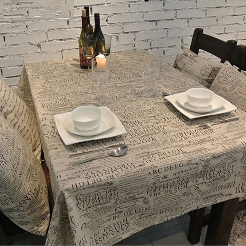 Western Style Linen Cotton Table Cloth Jute Tablecloth Vintage Rustic Life For Desk