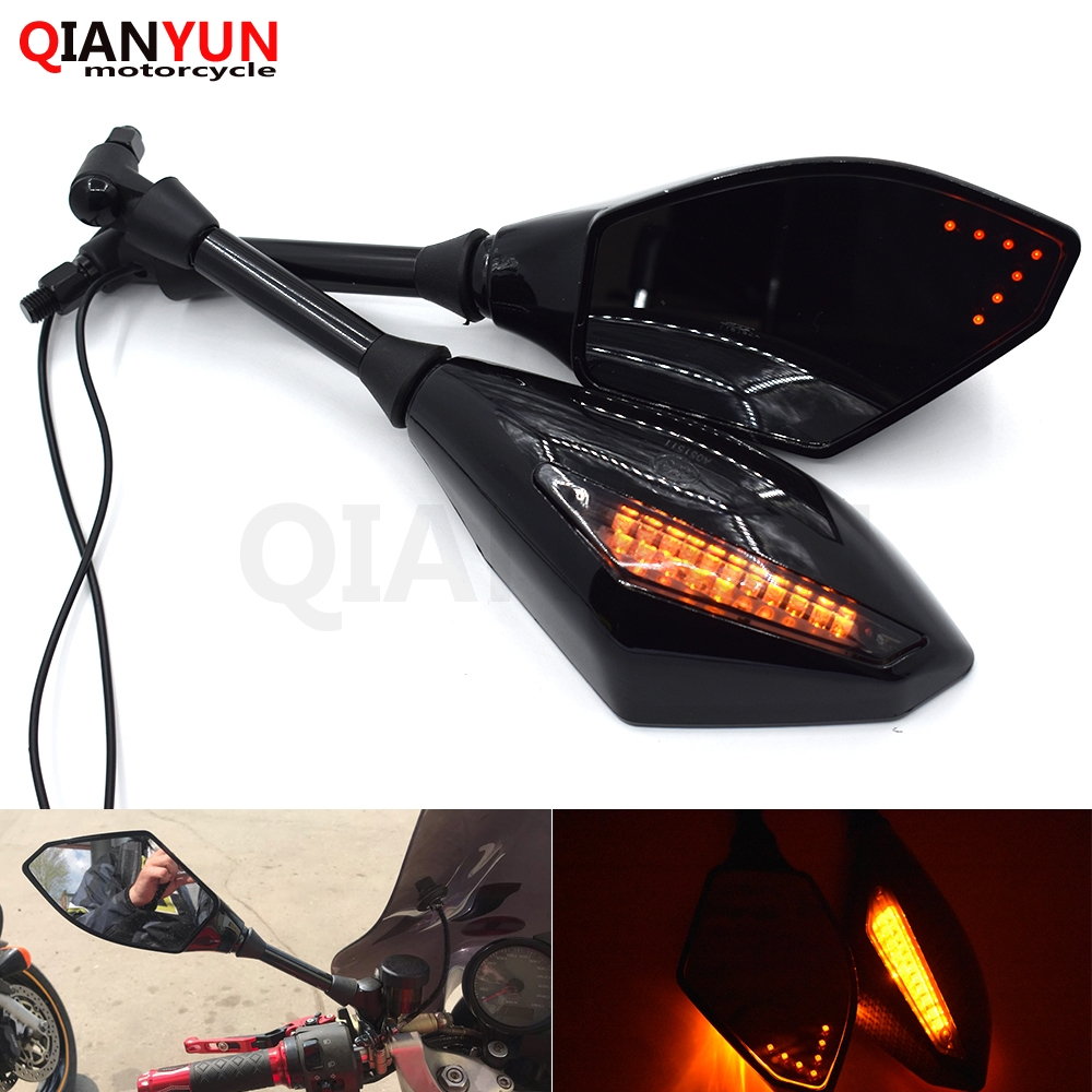 Universal Motorcycle Rearview Side Mirrors Scooters LED Turn Signal 2x 10mm