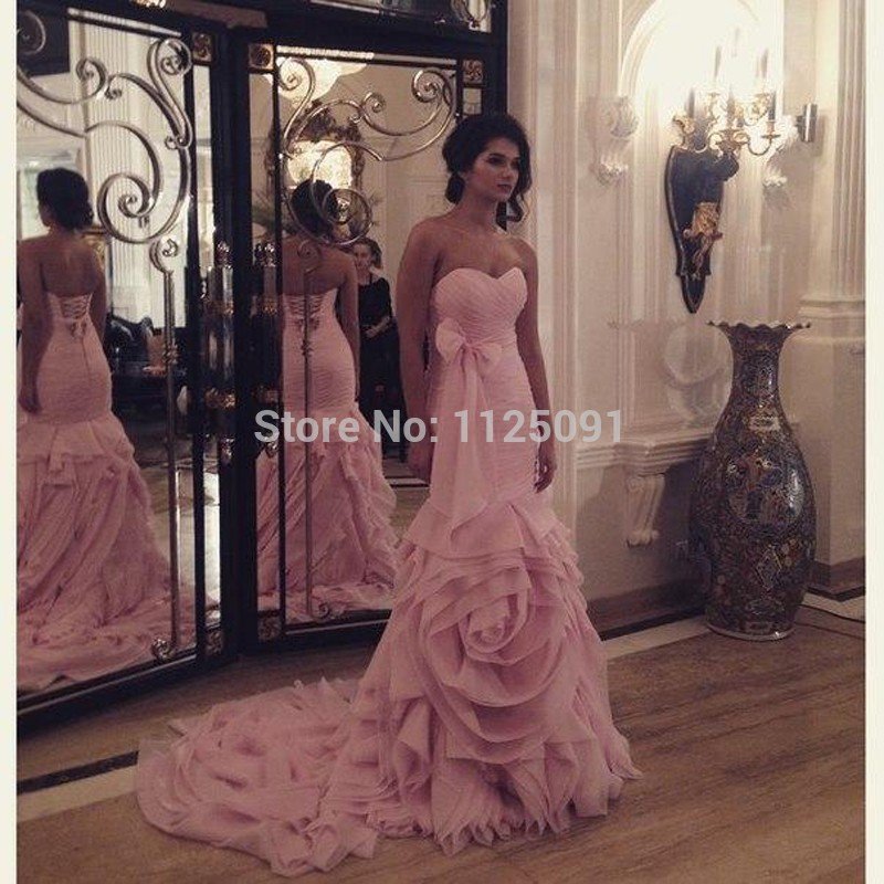 Pink New Mermaid Wedding Dresses Sweetheart Ruffles Bow Knot Sweep ...