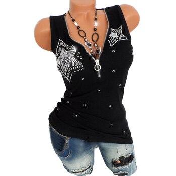 T camisa de las mujeres sin mangas de cuello en V para mujer 5539b05af45