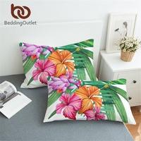 BeddingOutlet Planta Tropical Flamingo Fronha Fronha Fronha Envelope Da Cópia Da Flor Rosa e Verde para Adultos e Crianças