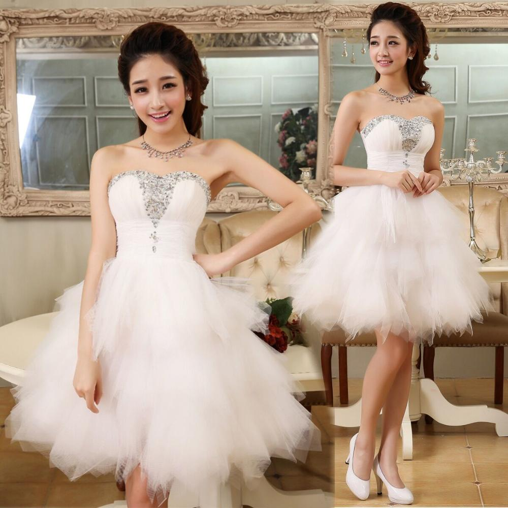Sparkle Crystal Beaded Short Cocktail Dresses White Homecoming Dress Strapless Sexy Shiny Mini Prom Gowns Abiye Vestidos