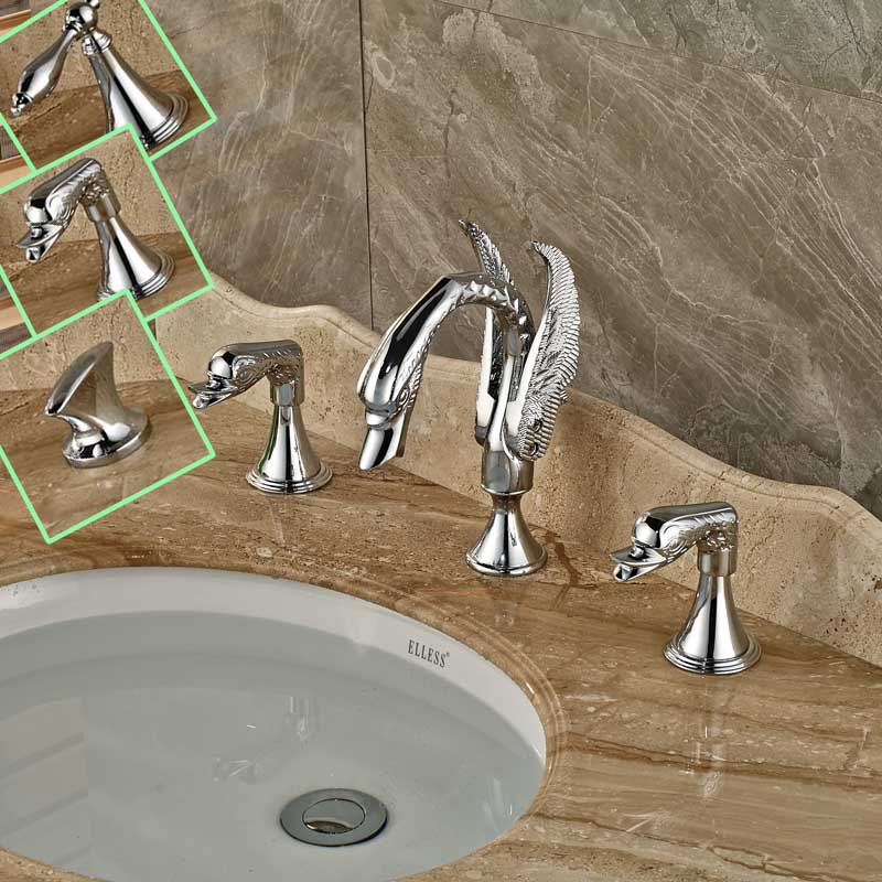 Double Handle Widespread Swan Style Basin Faucet Deck Mounted Bathroom Sink Mixer Chrome Finished with Hot and Cold Water hpb square style bathroom basin faucet water tap chrome finished sink mixer single handle hot and cold deck mounted hp3040