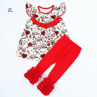 Valentine S Day Baby Girls Spring Outfit Red Heart Top Kids Solid Cotton Ruffle Pants Set