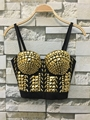 P248 New 2016 Unique Gold Rhinestone Gaga Bustier Pearls Diamond Push Up Night Club Bralette Women's Bra Cropped Top Vest