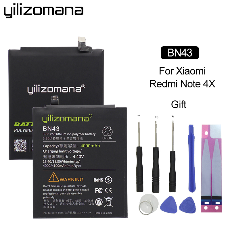 YILIZOMANA BN43 Original Phone Battery for Xiaomi Redmi Note 4X Note 4 Global Snapdragon 625 4000mAh Retail Package Free Tools in Mobile Phone Batteries from Cellphones Telecommunications